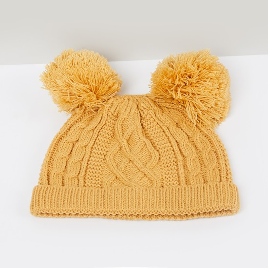 MAX Cable Knit Beanie with Pom-Pom