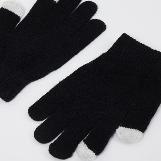MAX Colourblocked Flat-Knit Gloves