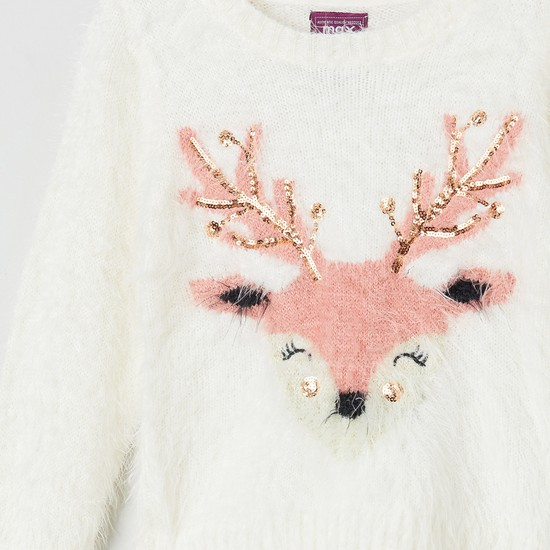 MAX Embellished Fuzzy Knit Sweater