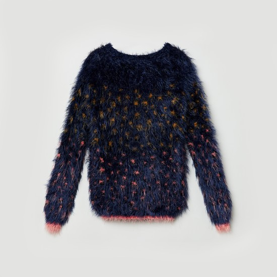 MAX Patterned Fuzzy Knit Sweater
