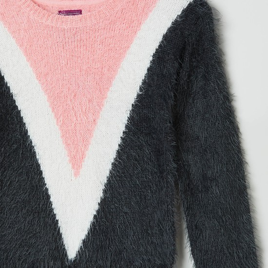 MAX Colourblocked Full Sleeves Fuzzy Sweater
