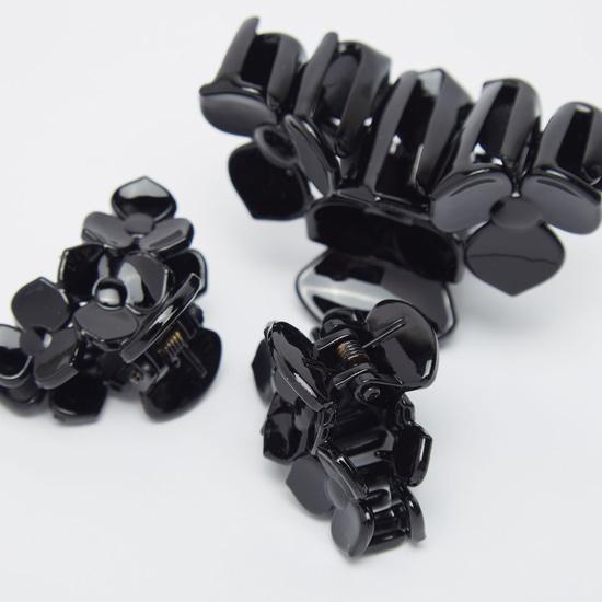 Set of 3 - Floral Applique Hair Clamps