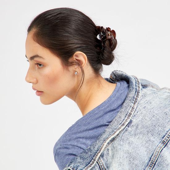 Set of 3 - Flower Applique Hair Clamps