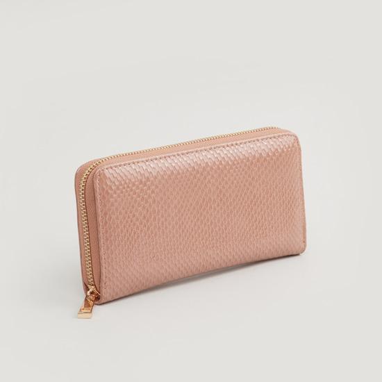 Textured Wallet with Zip Closure