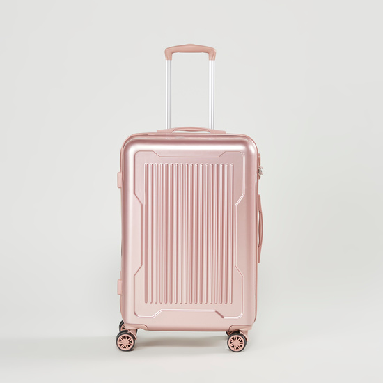 Textured Trolley Case with Retractable Handle and Caster Wheels - 44x25.5x67 cms