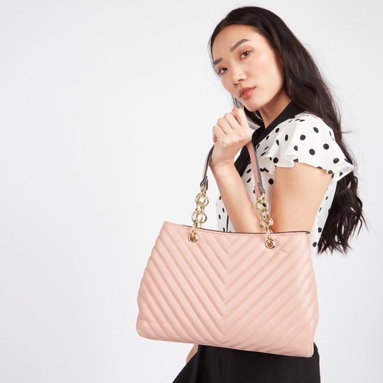 Quilted Handbag with Twin Handles