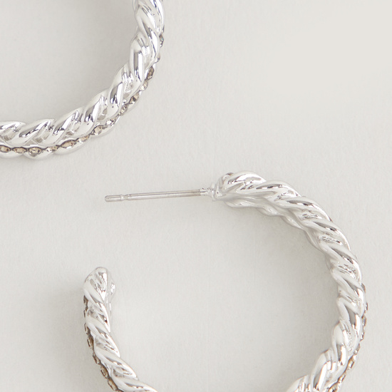 Embellished Dangling Hoops with Pushback Closure