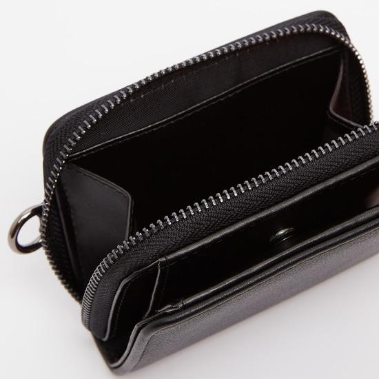 Textured Bi-Fold Wallet with Zip Closure