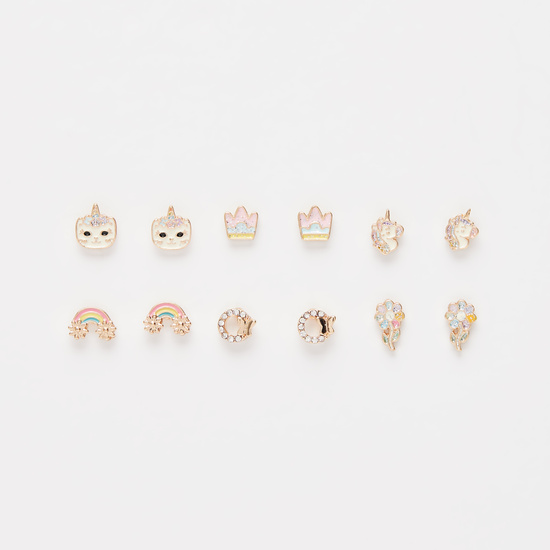 Set of 6 - Embellished and Enamel Plated Earrings