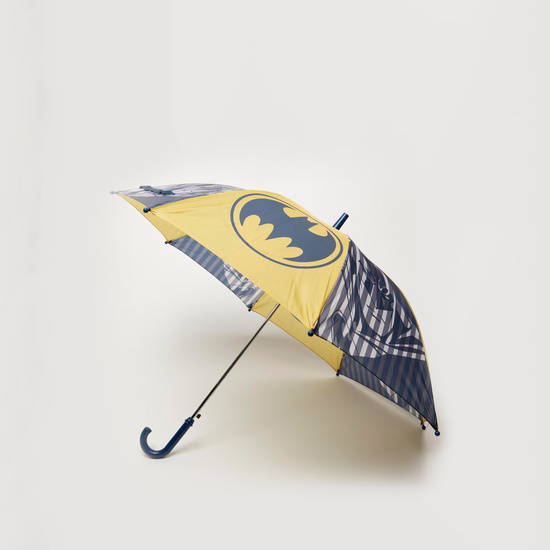 Batman Print Umbrella with Handle and Snap Button Closure