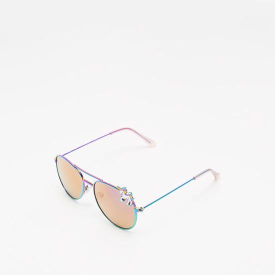 نظارة شمسية ملونة مع وسادات أنف وتزيينات يونيكورن