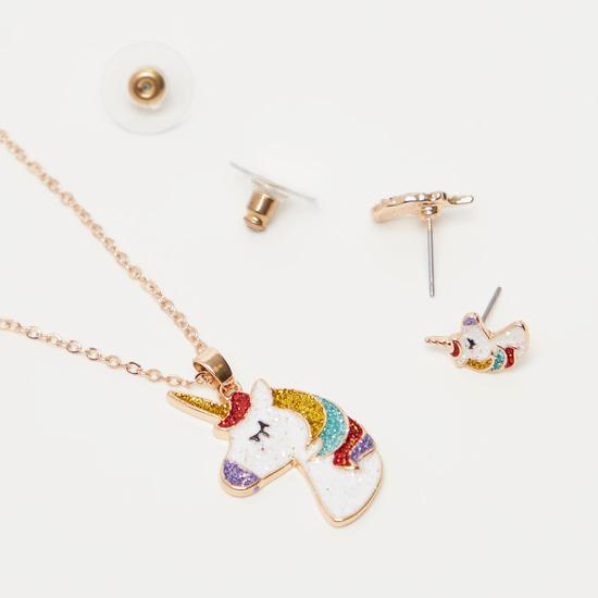 Embellished Unicorn Necklace and Stud Earrings Set