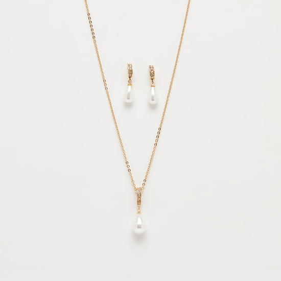 Studded Necklace with Lobster Clasp Closure and Dangler Earrings Set