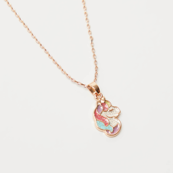 Unicorn Necklace with Lobster Clasp Closure and Stud Earrings Set