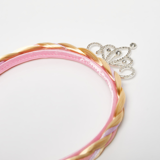 Braided Hairband with Crown and Bow Applique Detail