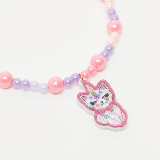 Cat Pendant Necklace and Bracelet Set