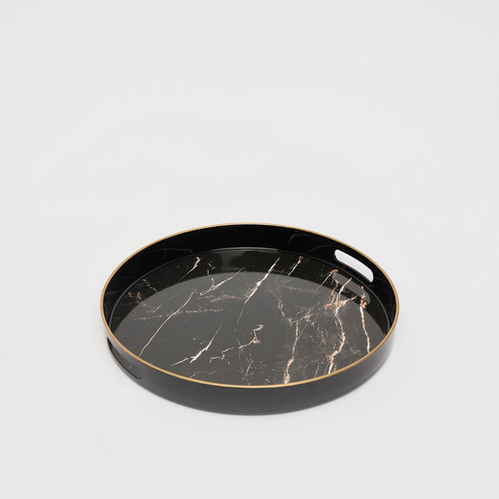 Patterned Round Serving Tray with Handle