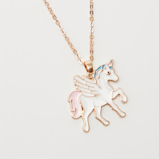 Unicorn Long Necklace and Stud Earrings Set