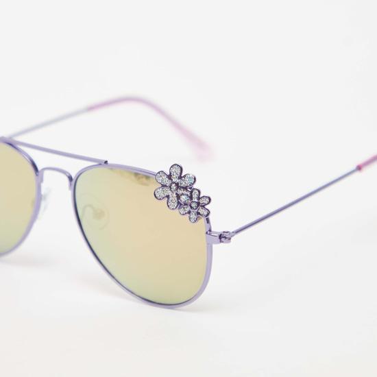 Full Rim Flower Applique Detail Sunglasses with Nose Pads
