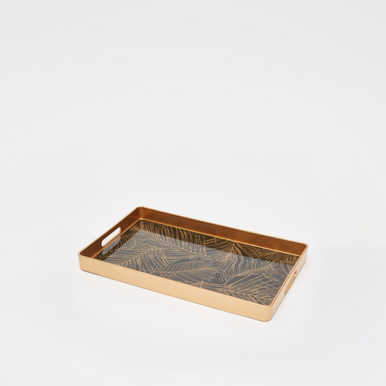 Leaf Print Serving Tray with Cutout Handles