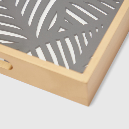 Textured Rectangle Serving Tray with Cutout Handles