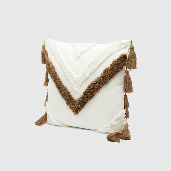 Patterned Textured Filled Cushion with Tassel Detail - 45x45 cms