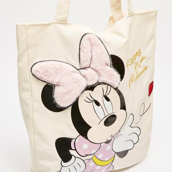 حقيبة توت بطبعات ميني ماوس وتفاصيل فيونكة