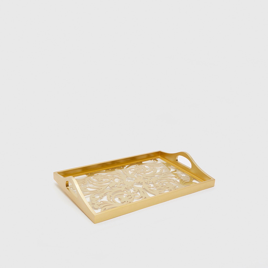 Patterned Serving Tray with Cutout Handles