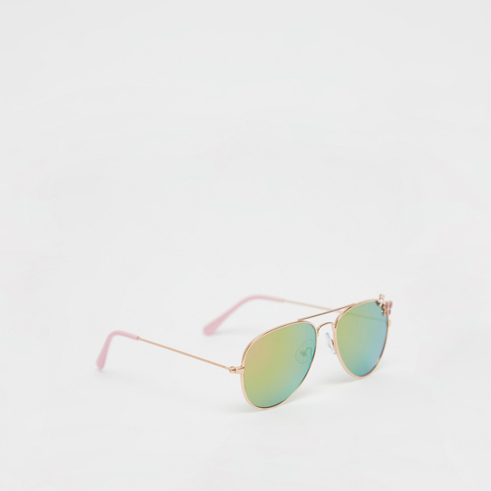 Applique Detail Aviator Sunglasses with Metal Rims