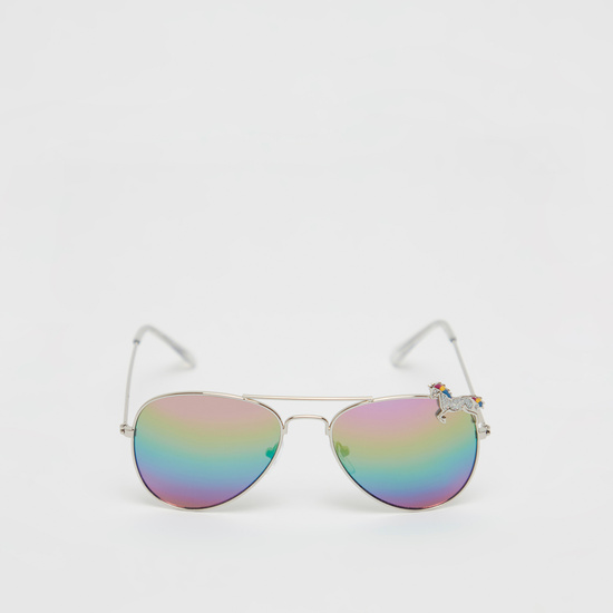 Unicorn Applique Multicoloured Aviator Sunglasses with Metal Rims
