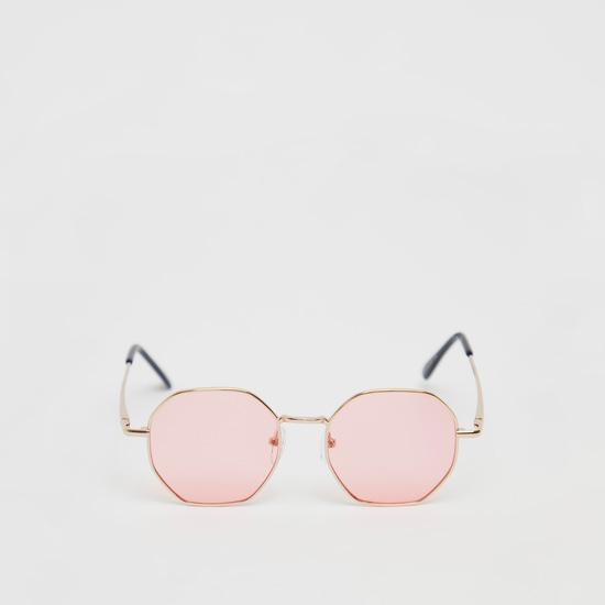 Full Rim Metallic Hexagon Sunglasses with Nose Pads