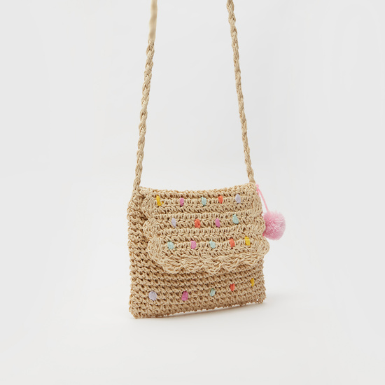Textured Crossbody Bag with Pom-Pom Detail and Magnetic Snap Closure