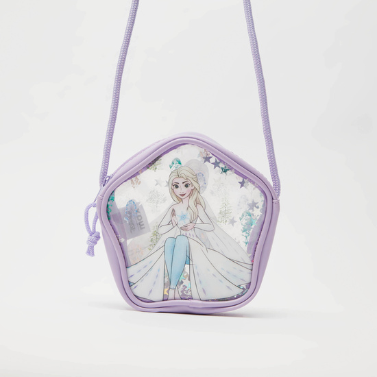 Frozen Print Crossbody Bag with Zip Closure