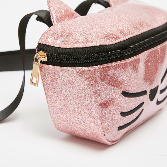 Glitter Fanny Pack with Embroidered Detail and Adjustable Strap