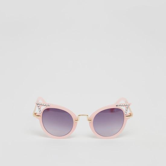 Stone Studded Metal Cat Eye Sunglasses