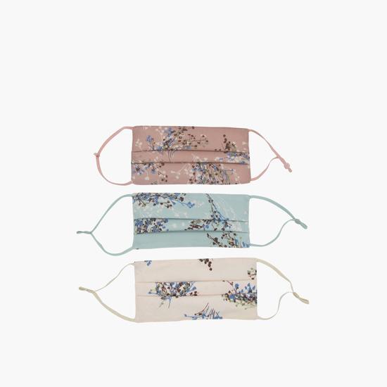 أقنعة وجه ثلاثية الطبقات قابلة لإعادة الاستخدام وبطبعات أزهار- عبوة من 3 قطع