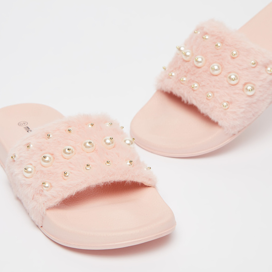 Pearl Detail Slides with Vamp Band