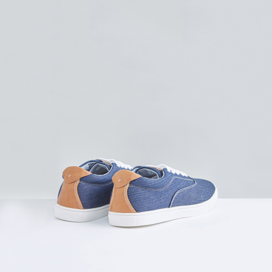 Denim Lace-Up Sneakers with Stitch Detail