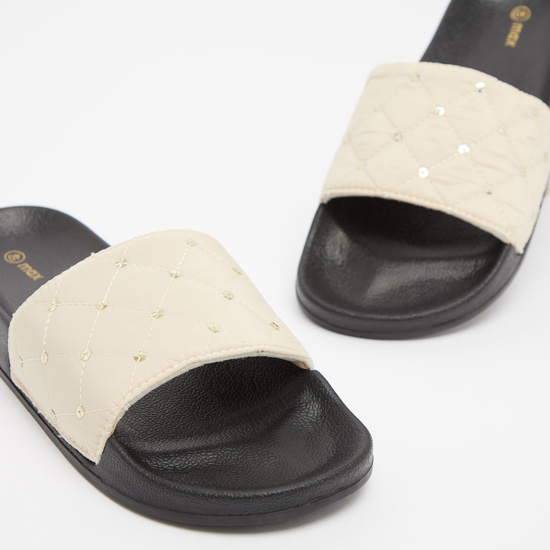 Sequin Embellished Slip On Slide Sandals