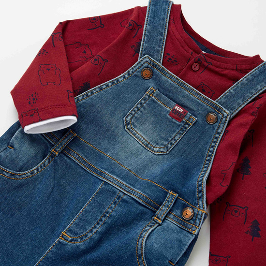 All-Over Print Long Sleeves T-shirt with Textured Dungarees