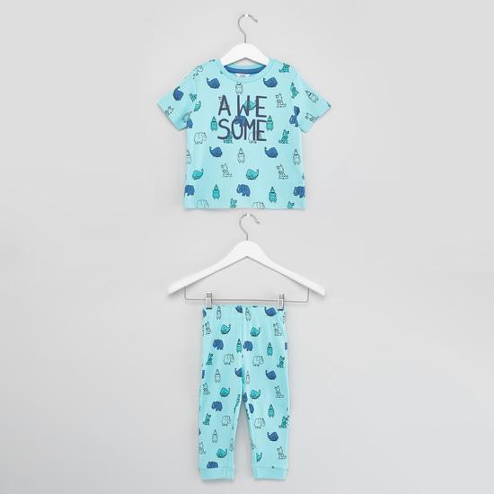 Animal Print Short Sleeves T-shirt with Full Length Jog Pants
