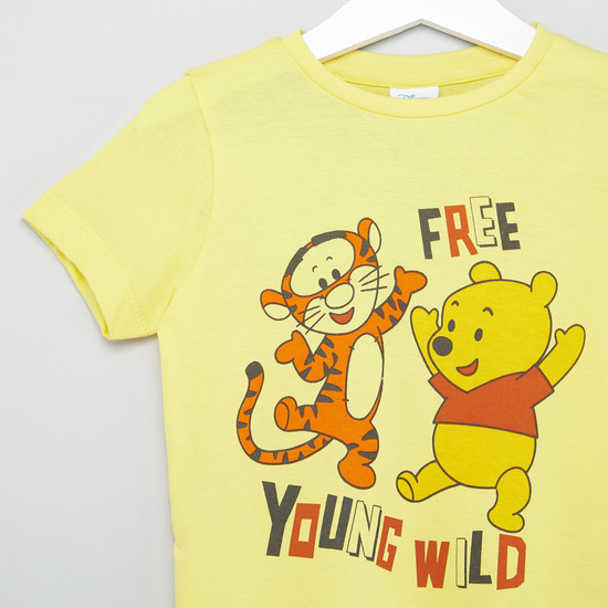 Winnie-the-Pooh Tigger Print T-shirt with Short Sleeves