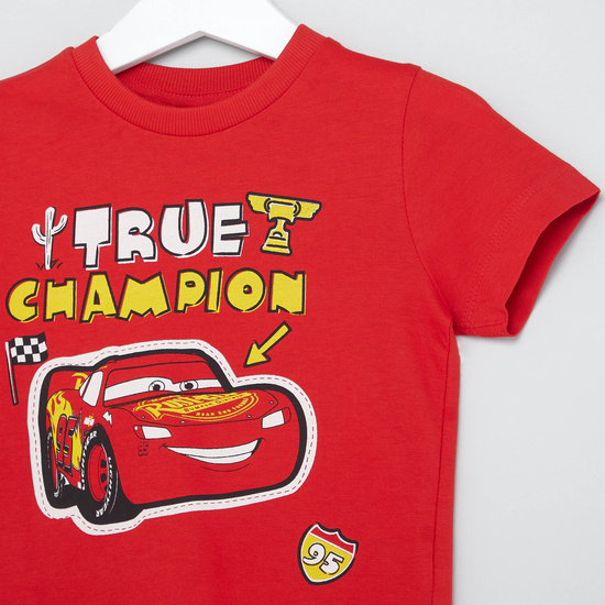 Cars Print T-shirt with Round Neck and Short Sleeves
