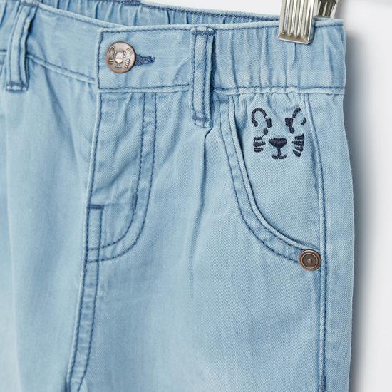 بنطلون جينز مطرز بجيوب وخصر مطاطي