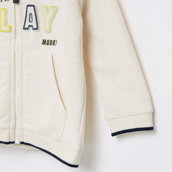 Embroidered Zip Front Jacket with Long Sleeves and Hood