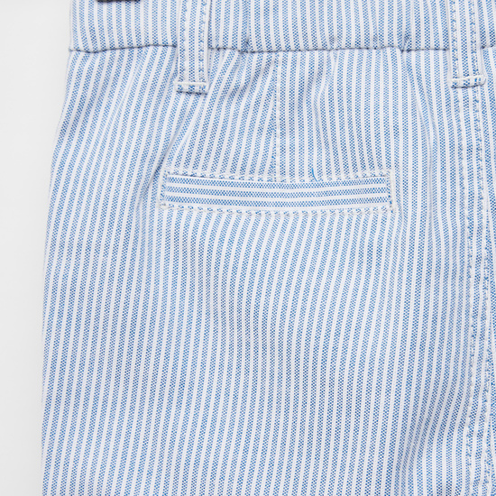 Striped Oxford Trousers with Pockets and Button Closure