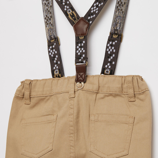 Solid Trousers with Pocket Detail and Suspenders