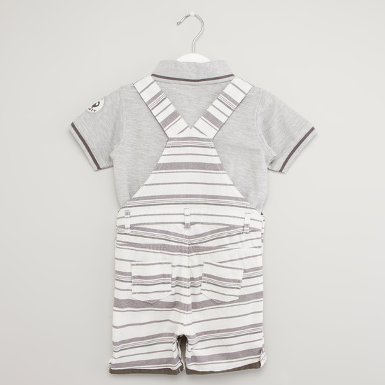 Textured Polo Neck T-shirt with Striped Dungaree
