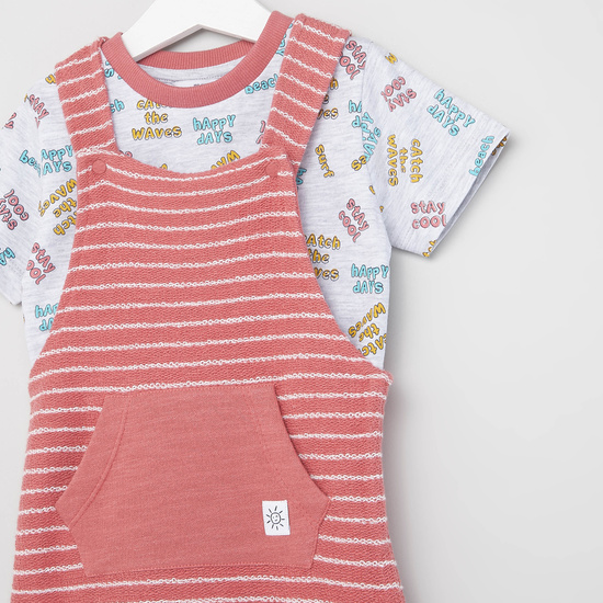 Printed Round Neck T-shirt with Striped Dungarees