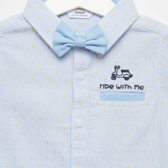 Textured Bow Tie Detailed Shirt with Short Sleeves and Button Closure